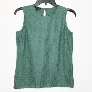 Talbots Green Lace Front Top 650